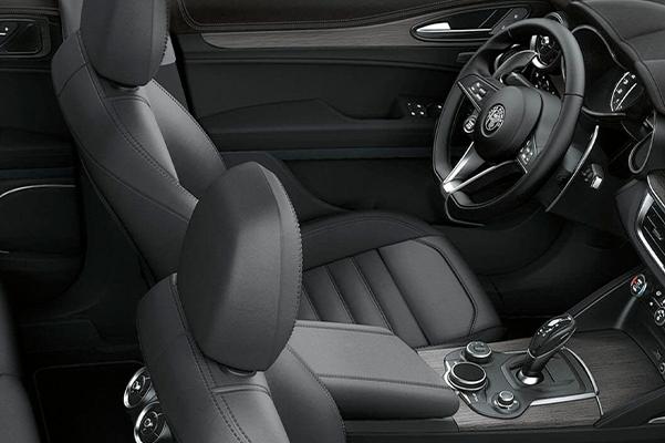 A raised interior view of the seats on the 2019 Alfa Romeo Stelvio.