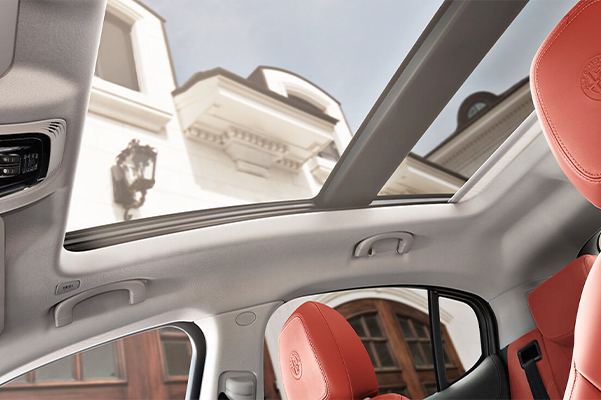 An interior view of the sunroof available on the 2019 Alfa Romeo Stelvio.