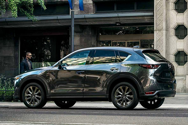 three quarter view of the 2019 mazda cx-5 on the street