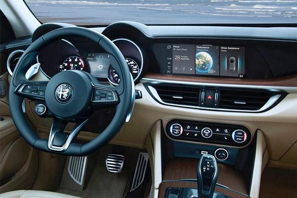Interior shot of the dashboard in a 2020 Alfa Romeo Stelvio