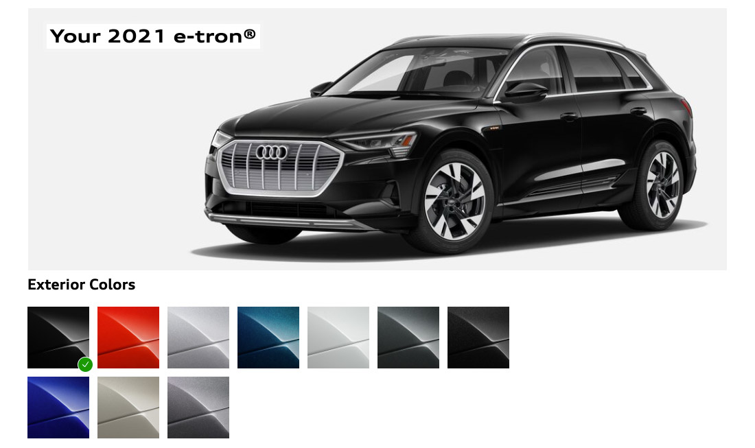 2021 Audi etron with different color swatches
