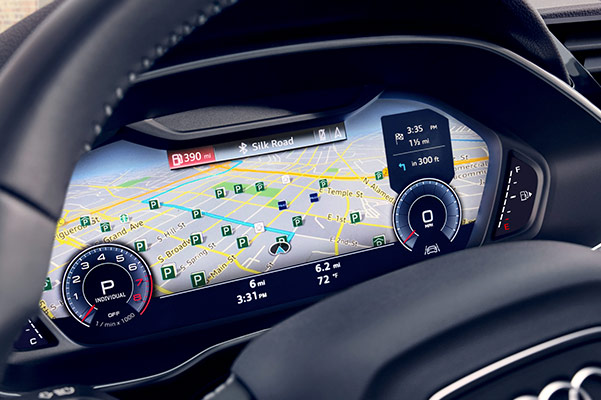 2020 Audi Q3 steering wheel and dashboard