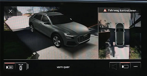 illustration showcasing Audi Q3 top view camera system