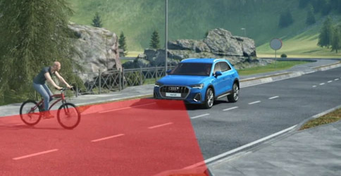 illustration showcasing Audi Q3 Audi pre sense front with pedestrian detection