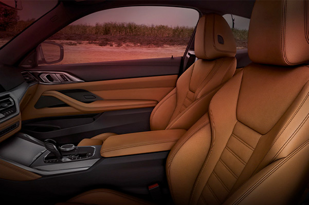 2021 BMW 4 Series: interior space with Dakota Leather upholstery