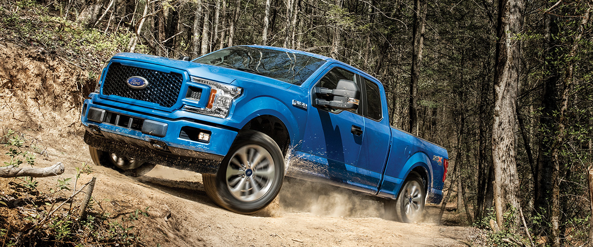 blue Ford F-150 pickup truck in the forest going up a mountain