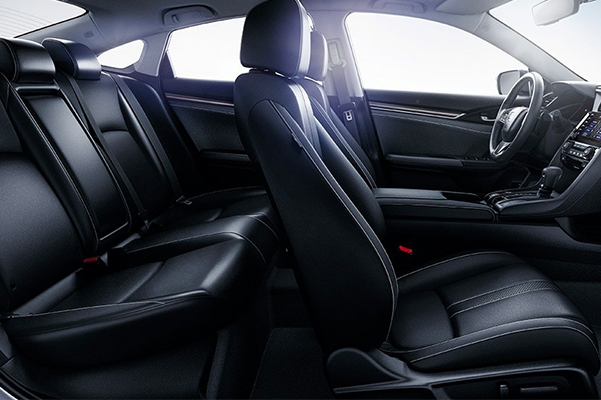interior view of honda civic vehicle featuring black leather seats