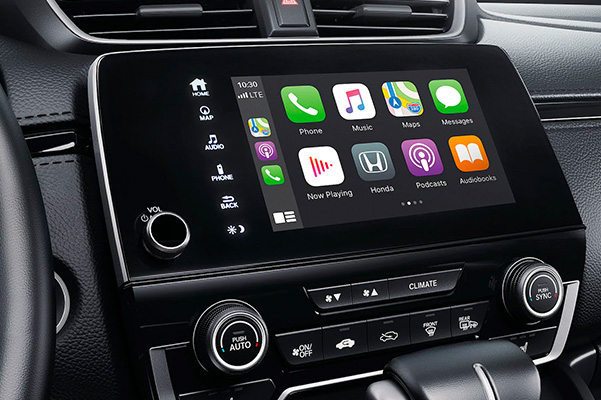 Apple CarPlay® integration menu detail on Display Audio touch-screen in the 2020 Honda CR-V.