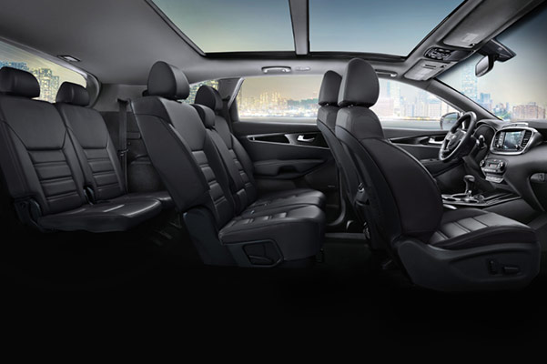 interior side view of Kia sorento suv showcasing back leather seats