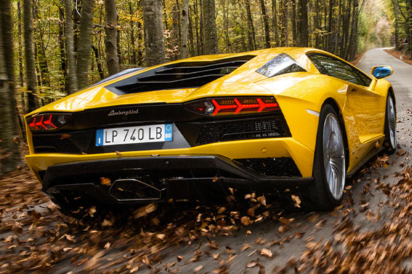 rear view of a yellow 2020 Lamborghini Aventador going at high speed through autumn leaves
