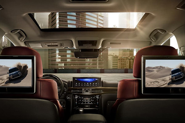 Interior shot of the Lexus LX dual-screen Rear-Seat Entertainment System.