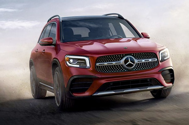 red 2020 Mercedes-Benz GLB on road