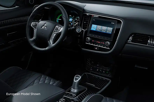 Interior passenger side view of the 2020 Mitsubishi Outlander PHEV.