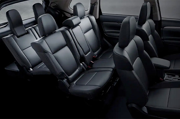 Interior view inside the 2020 Mitsubishi Outlander showing the 3rd row seating for 7 passengers.