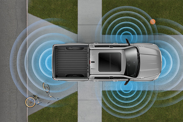 An illustration of sensors emanating from a 2020 Ram 1500 to show the areas covered by the 360-degree Surround View Camera.