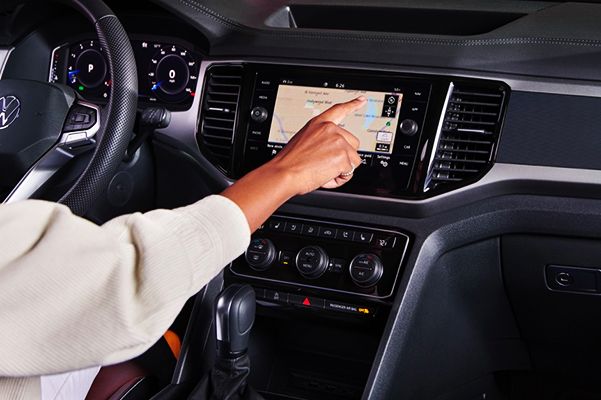Available touchscreen navigation system.