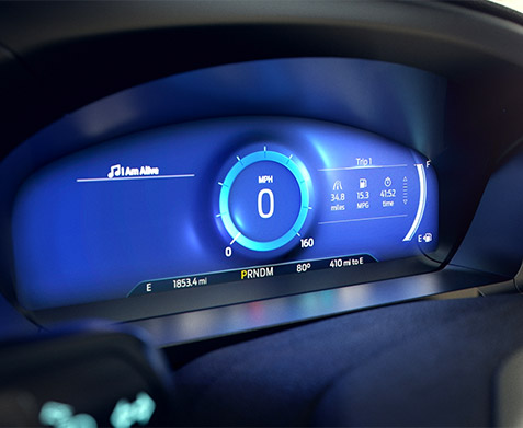 close up of digital speedometer feature on the ford explorer