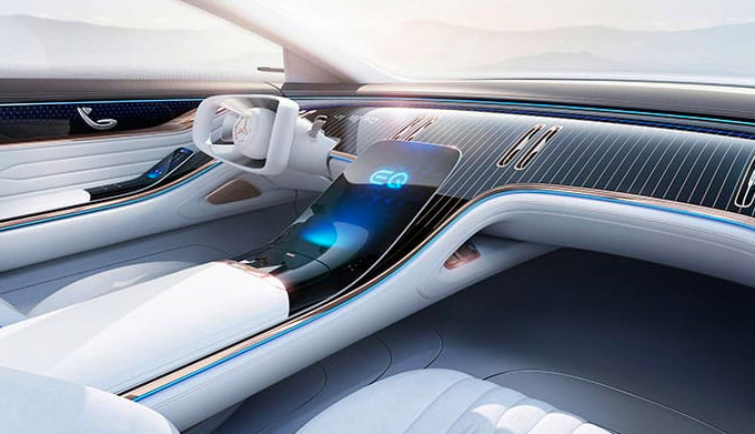 interior view of Mercedes Benz EQS electric sedan featuring driver dashboard and digital screen