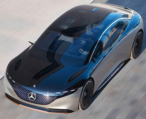 aerial profile view of Mercedes Benz EQS showcasing moonroof