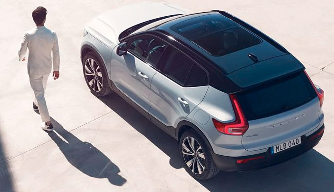 The XC40 Recharge rear view
