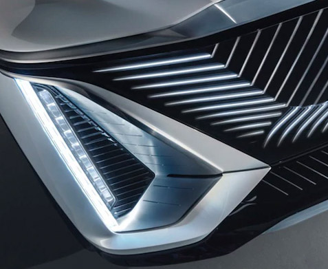 Cadillac LYRIQ EV Front Angle View showcasing headlights