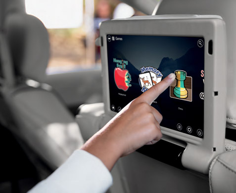 Available Uconnect® Theater's dual, 10-inch, 2nd-row touchscreens, including games and apps.