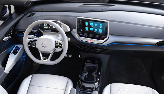 The ID.4 front seats and dashboard