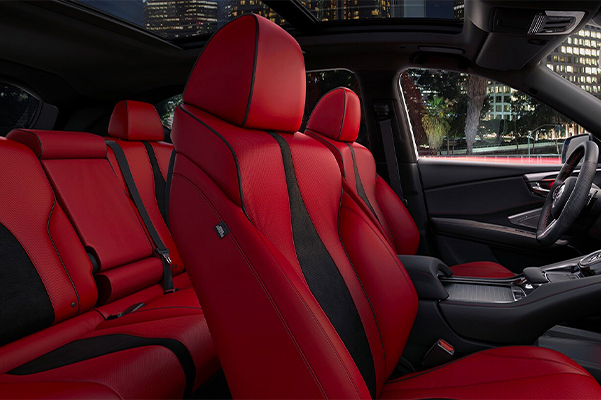 Exclusive red ultra suede leather interior.
