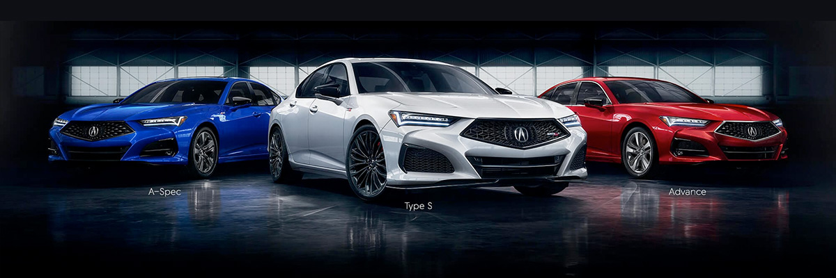 Acura TLX 2021 A-Spec, Type S and Advance in a dark warehouse