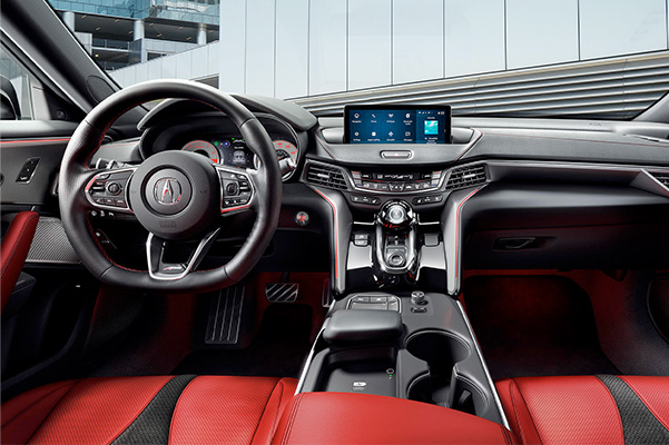 Acura TLX 2021 A-Spec with Red interior dashboard view.