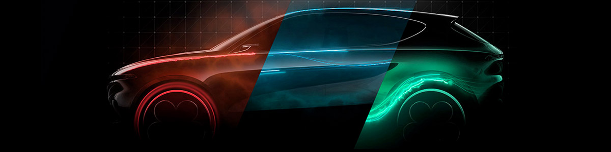 side view of alfa romeo suv illustrating electric current in red, blue and green colors.