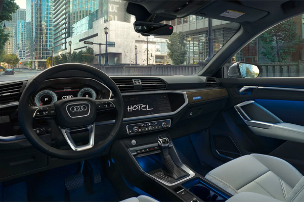 2021 Audi Q3 Interior steering wheel and front seats