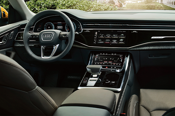 Interior view of the Audi Q8 cockpit.