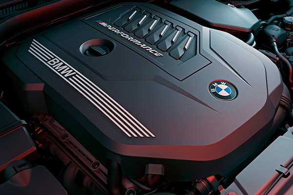 detail shot of the BMW TwinPower turbo engine