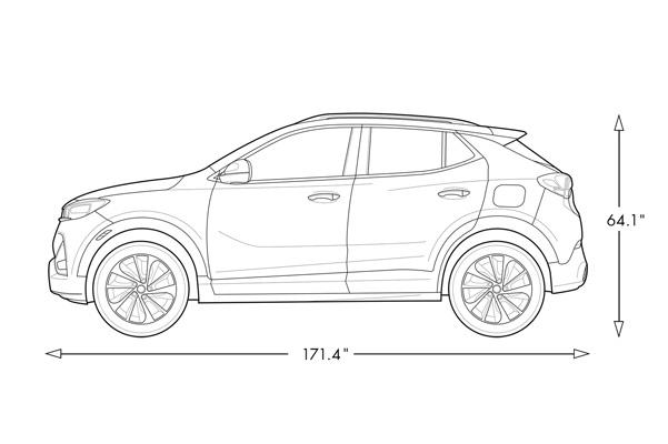 Diagram of 2020 Buick Encore GX Small SUV Specs