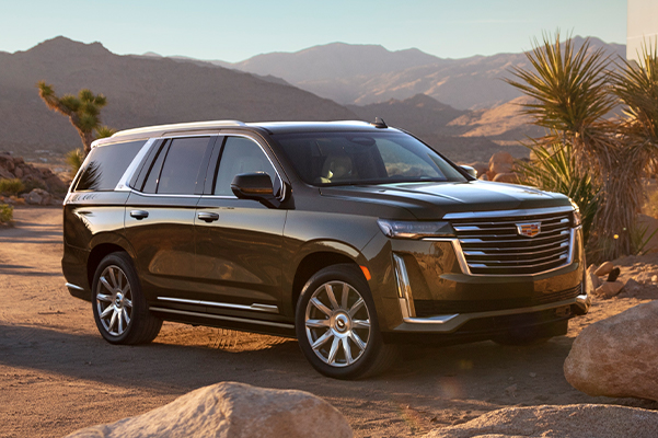 2021 Escalade Premium Luxury; interior color featured in Dark Mocha Metallic; RWD; short wheel base; 3/4 Driver side rear angle; vehicle parked in front of a mirrored building; stones;