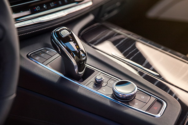 2021 Cadillac Escalade Sport RWD Center Console Showing Shifter and Traction Select Controls; Pre-Production model shown not product correct for prodcution models.