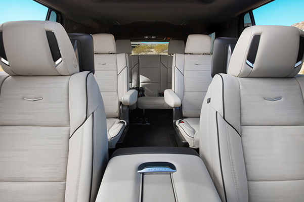 2021 Cadillac Escalade Sport Full Interior Showing 7-Passenger Seating; View from front; Pre-Production model shown not product correct for prodcution models.