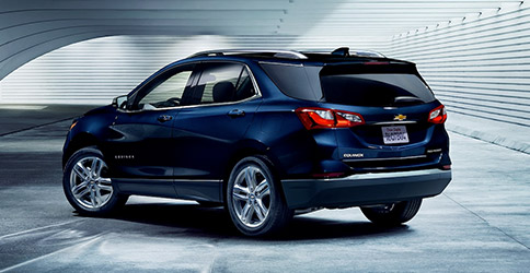 Rear view of blue 2021 Chevy Equinox