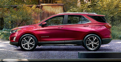 Side view of red 2021 Chevy Equinox