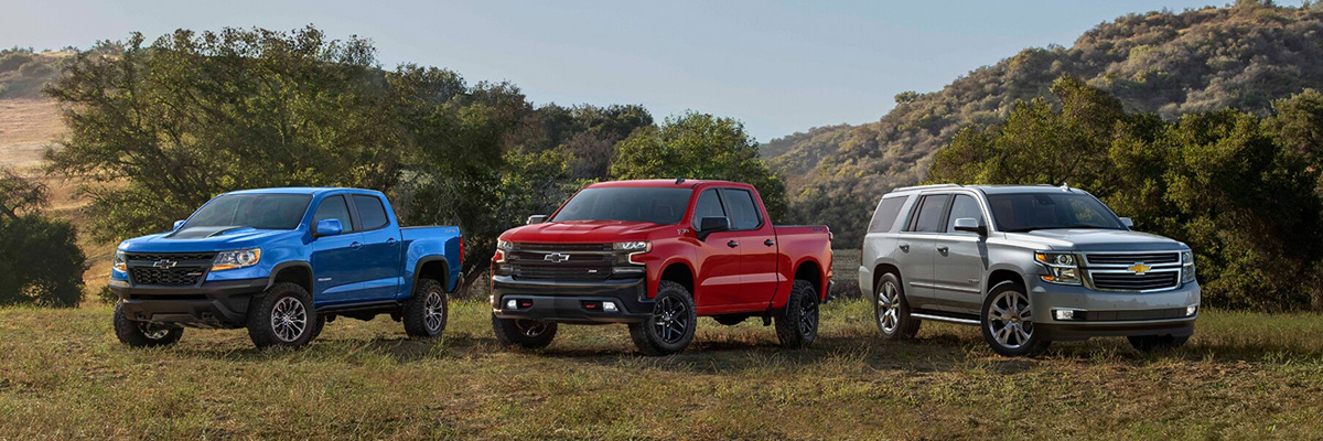 2021 Chevrolet lineup parked on a grassy background