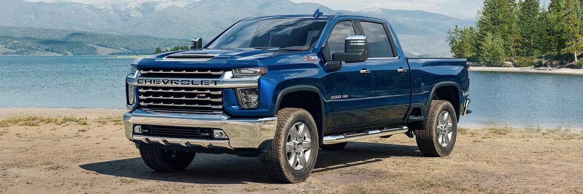 Blue 2021 Chevy Silverado HD front