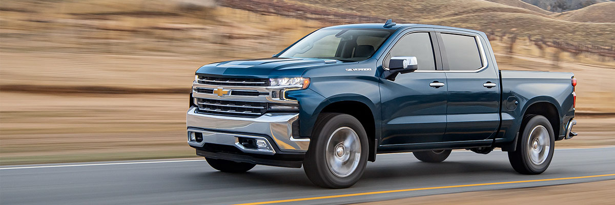new 2021 chevy silverado driving down the road