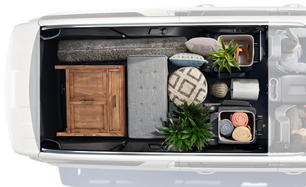 aerial view of Chevrolet suburban showcasing interior storage area