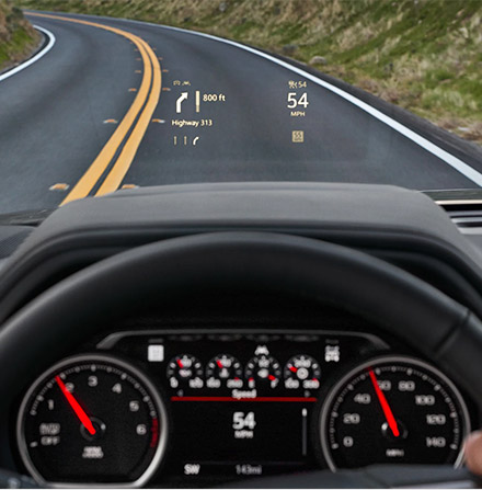 interior view of Chevrolet Suburban showcasing Heads up display on the windshield
