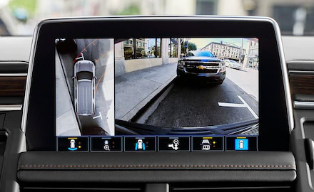 detail shot of Chevrolet suburban digital screen showcasing back up camera
