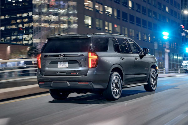 2021 Tahoe Exterior Rear View Driving at Night