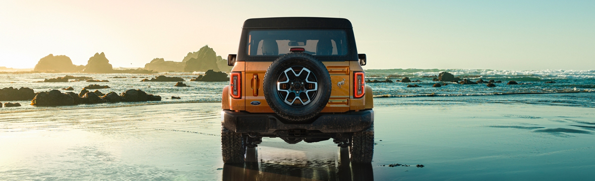 2021 Ford Bronco rear view on beach