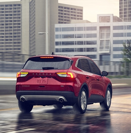 rear view of red 2021 Ford Escape