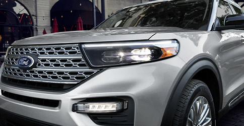 Close up of the available adaptive headlamps with L E D signature lighting